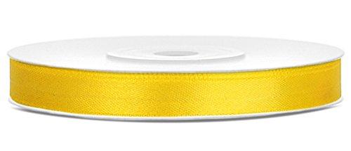 Partydeko 25m x 6mm Rolle Satinband Geschenkband Schleifenband Dekoband Satin Band Antennenband (Gelb (084))