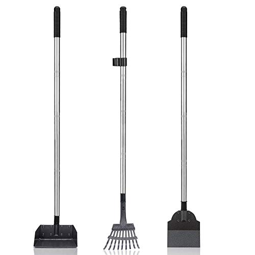 Dog Pooper Scooper Set, 3 Pack Adjustable 57.1 Inches Long Handle Metal Tray, Rake and Spade Poop Scoop for Waste Removal, No Bending Clean Up for Large and Small Dog - (Bonus 2 bags and hold bag)