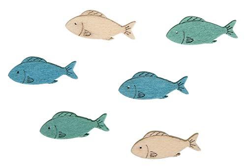 Rayher 46041000 Streuteile Fisch, 3x1 cm, SB-Btl 15 Stück,3 Farben weiß-türkis-blau Kartengestaltung