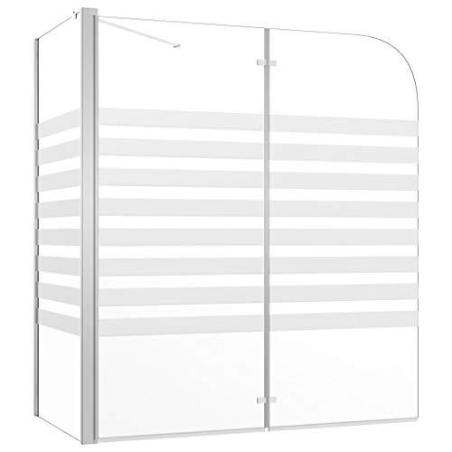 vidaXL Duschabtrennung Badewannenfaltwand Badewannenaufsatz Duschwand Duschtrennwand Duschkabine Faltwand 120x68x130cm Hartglas Streifen