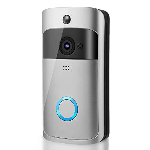 Timbre con video, timbre con videoportero inalámbrico, videoportero con wifi inteligente, con cámara de seguridad en la puerta y visión nocturna por infrarrojos, para sistema de seguridad en el hogar
