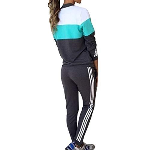 Mxssi Abbigliamento Sportivo Donna Tuta Sportiva Tute Pullover a Maniche Lunghe Pantaloni 2 Pezzi Vestiti Set Felpa + Sportiva Pantaloni Donna Tuta Completa Set Autunno Inverno