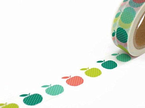 Apple pommes coloré papier Washi masquage ruban adhésif 15 mm x 10 metres
