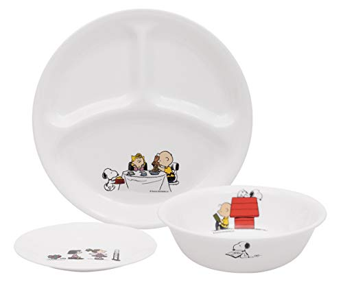CORELLE Livingware x Peanuts Glass Divided Plate , Cereal Bowl and Small Plate ( 3Pcs Set )