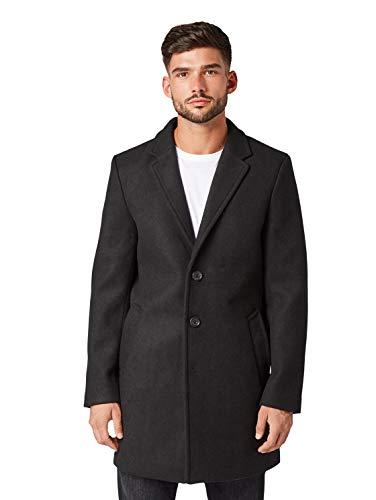TOM TAILOR Herren Klassischer Woll Mantel, Schwarz (Black 29999), XL