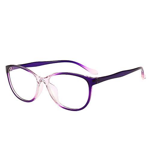 JJZXT Cómodo Y Fuerte Marco Metal Eyewear, Superligero Montura Gafas Cuadradas Ovalada, Moda Sencillez Montura Gafas De Media Marcos, for Damas, Hombres,Púrpura