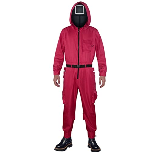 XIAOTONG Nuevo disfraz de calamar juego ropa popular juego cosplay ropa calamar juego rojo ropa manager partido juego perfecto copia (color : sin mscara, tamao: XXL)