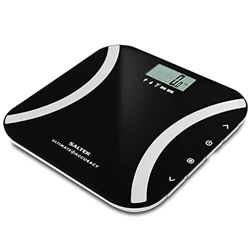 Salter Bilancia Pesapersone Digitale Analizzatrice per Misurare Peso, Grasso Corporeo, Acqua Corporea, Massa Muscolare, BMI e BMR, Incrementi di 50g, Funzione di Memoria per 12 Persone, Nero