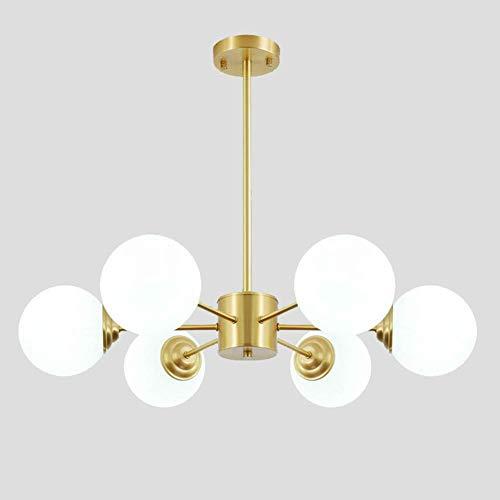Lámpara de araña de oro moderna, portalámparas E27 con luz colgante de pantalla de cristal esmerilado blanco, sala de estar, restaurante, dormitorio, lámpara de techo, oro, 6 luces