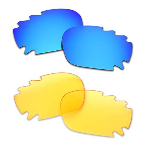 SOODASE Für Oakley Jawbone Vented Sonnenbrillen Blau/Transparent Gelb 2 Paare Ersatzgläser