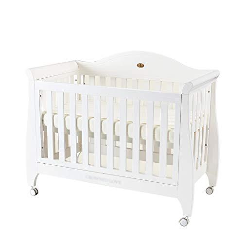 Buy Discount DUWEN Cot Bed Solid Wood Multifunction Baby Cot European Style Cot Bed Toddler Bed Spli...