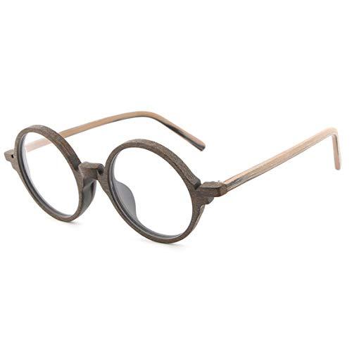 JIUPO Retro Redondo Anteojos Lente Claro Gafas de Lectura Decoración Para Mujer y Hombre-PG25