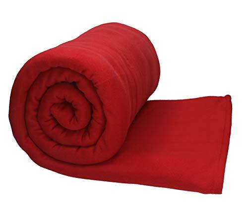 Betz Jumbo Fleecedecke Kuscheldecke XXL Größe 220x240 cm Qualität 200g/m² Farbe dunkel Rot