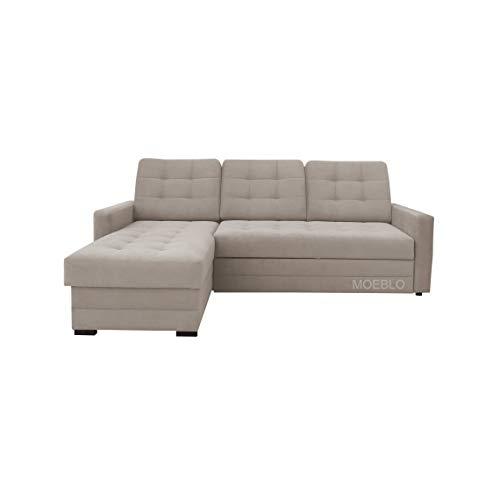 mb-moebel Ecksofa mit Schlaffunktion Eckcouch mit Bettkasten Sofa Couch L-Form Polsterecke GENEWA I (beige, Ecksofa Links)
