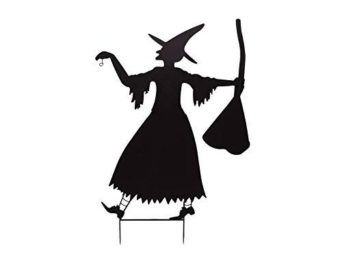 EUROPALMS Silhouette Metall Hexe mit Besen, 140cm | Hexensilhouette als Blickfang im Garten