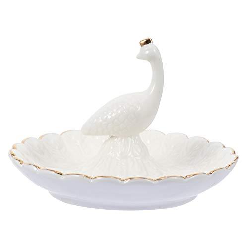 Cabilock Bandeja de Almacenamiento de diseño de Plato de joyería de cerámica de 1 Pieza, decoración de Escritorio (Blanco)