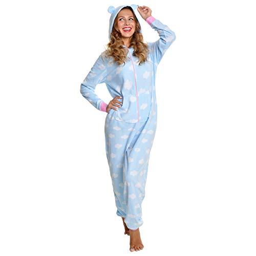 Angelina Women's Fleece Novelty One-Piece Hooded Pajamas, PJ1Z_Cloud_LXL