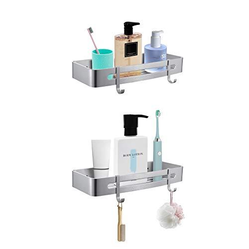 NIENLCIP Estanteria Baño Sin Necesidad de Taladrar Estante Ducha Autoadhesivo Baño Ducha Estantería Prevención de Herrumbre Aluminio Rectangular 2 Niveles Plata