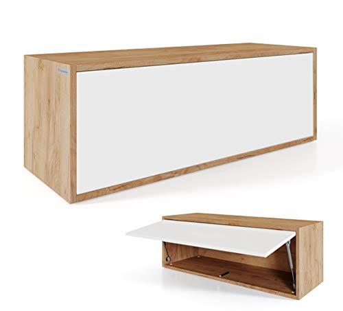 PLATAN ROOM Hängeschrank Schrank 100 x 35 x 35 cm Küchen-Klapphängeschrank für Bad, Flur, Wohnzimmer Wandschrank (Eiche Gold + Weiß)