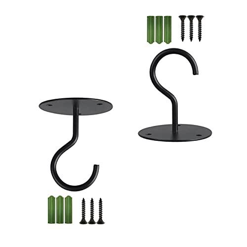 Gancho de Techo de Montaje en Pared, Soportes de Cesta Colgante, Soporte de Soporte para Colgantes linternas de pájaros Conjuntos de chimenes de Viento decoración al Aire Libre (Color : Black)