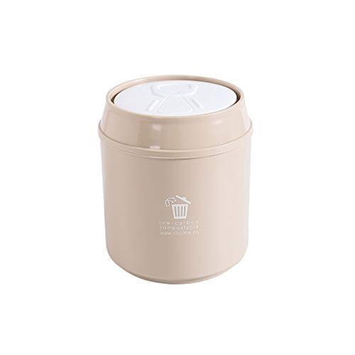 XVXFZEG Trash Can, Schöner Kunststoff bruchsicheren Desktop-Mini Trash Can Eimer, Covered for Badezimmer, Küchen, Home Offices, Kinderzimmer, mit Abdeckung Waste Paper Trash Can (Color : Beige)