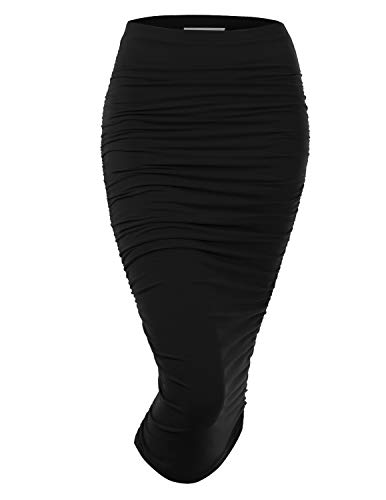 Doublju Women's Slim Fit Ruched Long Pencil Skirt with Plus Size Black X-Large