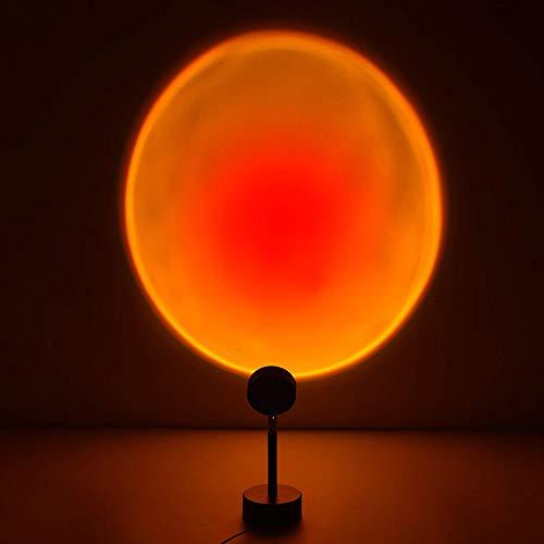 Intckwan Lámpara de mesa con proyector de arco iris LED, para suelo de salón, dormitorio, luces de pared de color para fotos en directo, transmisión en directo, USB de 5 V (rojo atardecer)