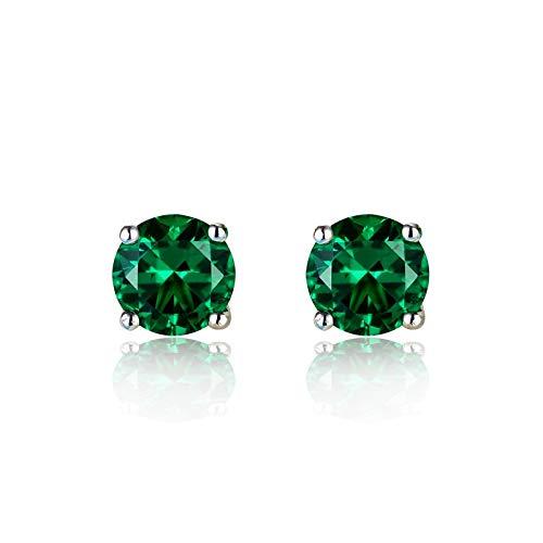 Pendientes de piedra verde esmeralda redondos de 8 mm para mujer Pendientes de boda de plata esterlina para mujer Pendientes de doble botón