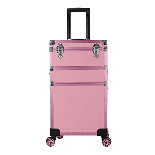 Valise à Cosmétiques Trolley à Maquillage Poignée rétractable avec lumières esthéticienne Organisateur boîte de Stockage Fauay,Rose