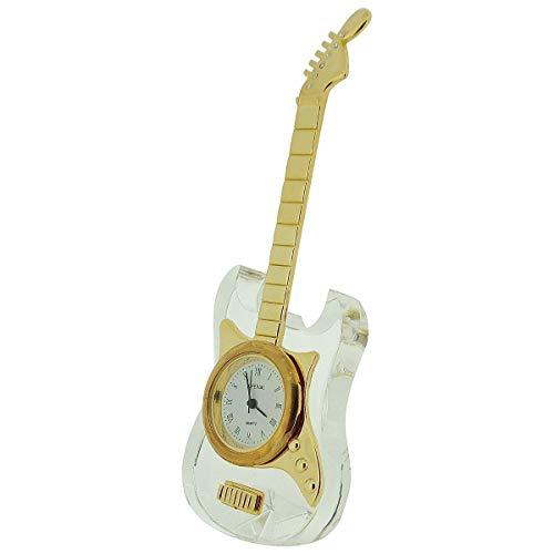 GTP Reloj unisex en miniatura chapado en oro y cristal de guitarra...