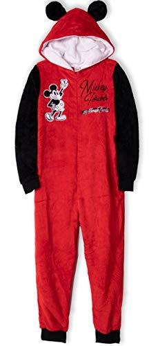 Originale Disney-Schlafanzüge, Motiv: Minnie & Mickey Maus, Coral-Fleece, für Erwachsene, Damen, Teenager, Einteiler, weicher Jumpsuit - Größen: S, M, L, XL Gr. Large, rot