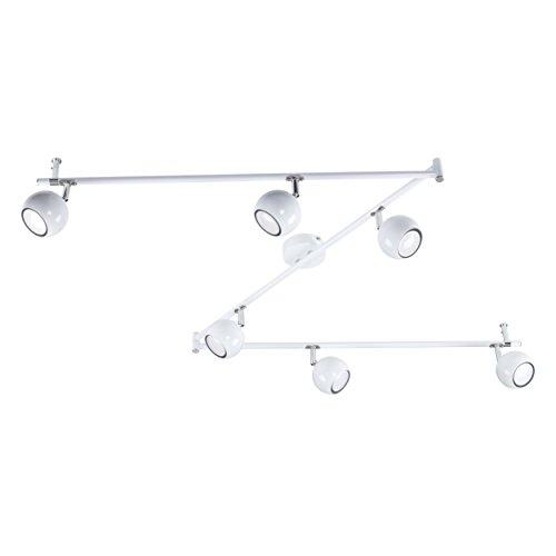MiniSun – plafoniera bella, retrò e bianca lucida su binario regolabile 6 luci spot sferiche e orientabili nello stile arco