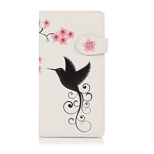 Shagwear ® Portemonnaie Geldbörse Damen Geldbeutel Mädchen Bifold Mehrfarbig Portmonee Designs: (Kolibri Beige/Hummingbird)