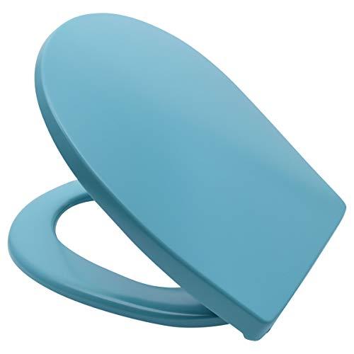 LUVETT® PREMIUM WC-SITZ C100 oval mit Absenkautomatik SoftClose® & TakeOff® EasyClean Abnahme, hygienisch & beständig: Urea Duroplast Toilettendeckel, rostfreier Edelstahl, Farbe:Calypso