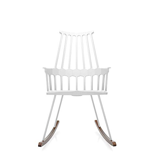 Kartell Comback White Rocking Armchair with Oak sled