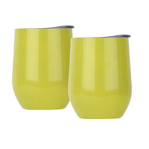 yotijar Paquete de 2 Tazas Termo de Acero Inoxidable de 12 Oz Taza de Vino Taza Taza de Café