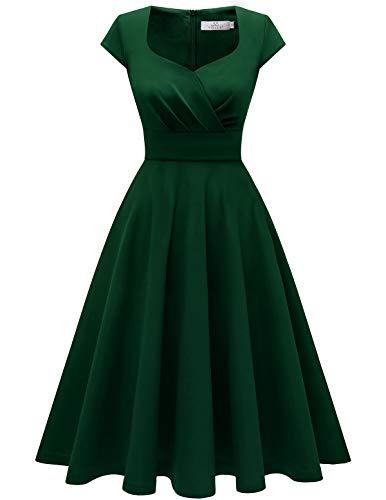 Homrain 50s Vestidos Vintage Retro Rockabilly Clásico Vestido Vendimia para Mujer Dark Green XL