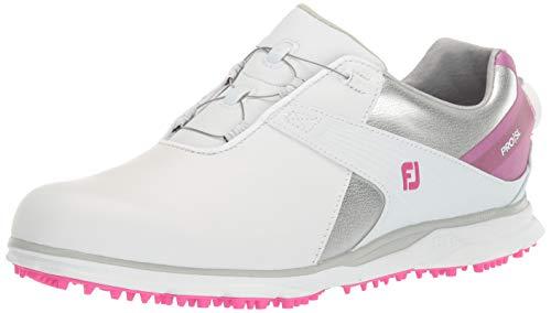 Footjoy Wn PRO SL, Scarpe da Golf Donna, Bianco Argentato Rosa, 41 EU