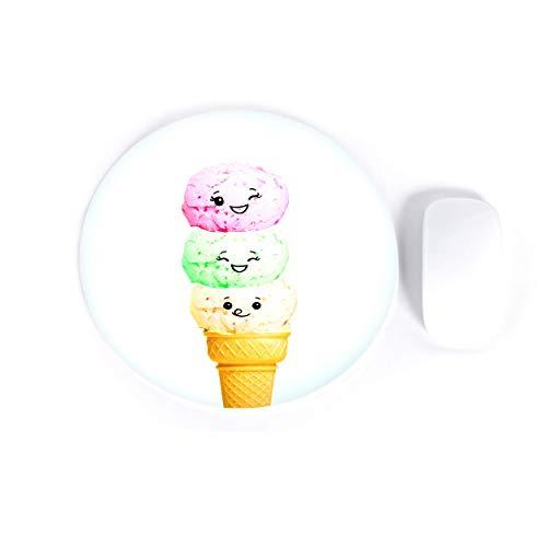 Eiscreme Smiley Gesicht Runde Mauspad Lustige Lebensmittel Süßigkeiten Leckereien Computer Mauspad Gaming Neopren Rutschfeste Mauspad