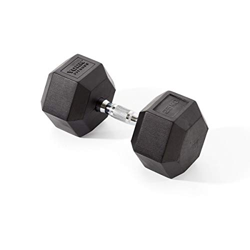 York Fitness Rubber Hex Dumbbells (Single) - Black, 25kg