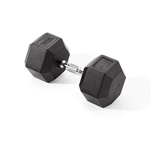 York Fitness Rubber Hex Dumbbells (Single) - Black, 25kg