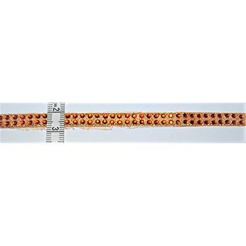 TOMASELLI MERCERIA hoofdband strass om op te strijken, oranje 2 rijen hoogte 1 cm