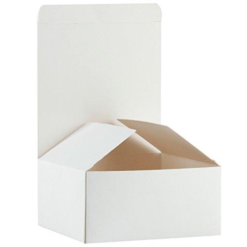 RUSPEPA Confezioni Regalo in Cartone Riciclato - Confezione Regalo Piccola con Coperchi per Artigianato, Cupcake E Biscotti - 13X13X8 Cm - Confezione da 30 - Bianco