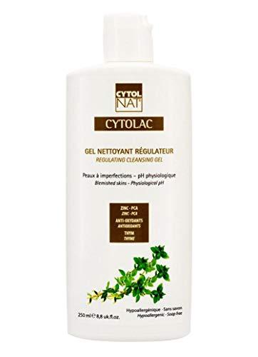 CYTOLAC® Gel limpiador regulador cara y espalda 250 ml – Reduce visiblemente las imperfecciones: botones, puntos negros, signos de acné - hipoalergénico, sin jabón, pH fisiológico