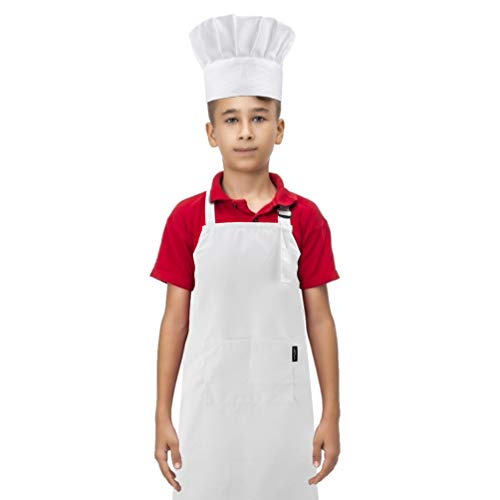 Delantal y sombrero de chef para niños, delantal con bolsillo para cocinar, hornear y pintar, correa elástica para el sombrero y...