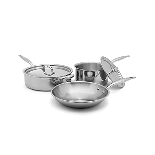 Heritage Steel 5 Piece Essentials Cookware Set - Titanium Strengthened 316Ti Stainless Steel with 5-Ply Construction - Induction-Ready and Fully Clad, Made in USA