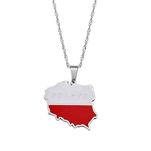 Mapa De Polska Collares Con Colgante De Bandera Joyería De Mujer Mapas Collares De Polonia Longitud De La Cadena Polaca: 60 Cm