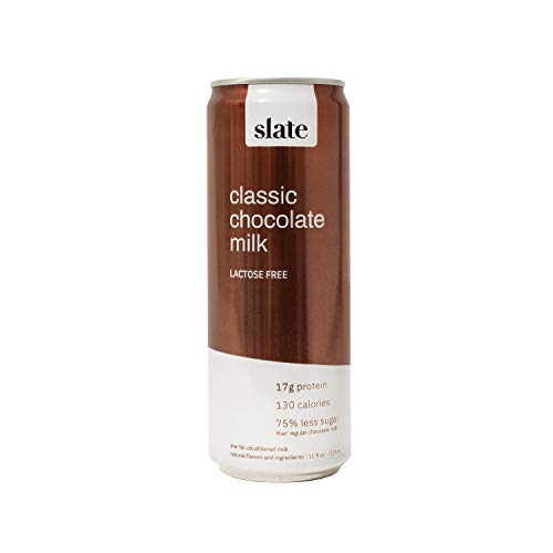 Slate High Protein Classic Chocolate Milk, Lactose Free, Low Sugar, Non-GMO, Gluten Free, 11 oz Can, Pack of 12