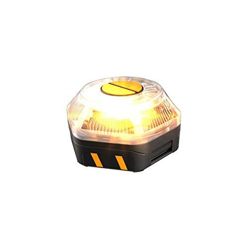 KSIX Luz de Emergencia V16 para Coche y Moto Homologada por DGT con Linterna Led. Baliza de Señalización Luminosa Autónoma en Carretera con Base Magnética y Gancho Multiusos.