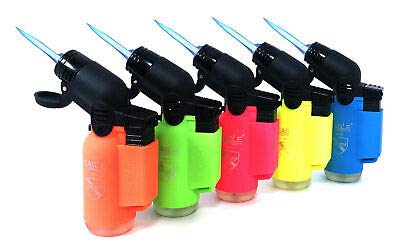 Pack of 5 Eagle Angle Torch 45 Degree Single Jet Flame Torch Lighter Windproof Refillable Lighter (Neon Colors)